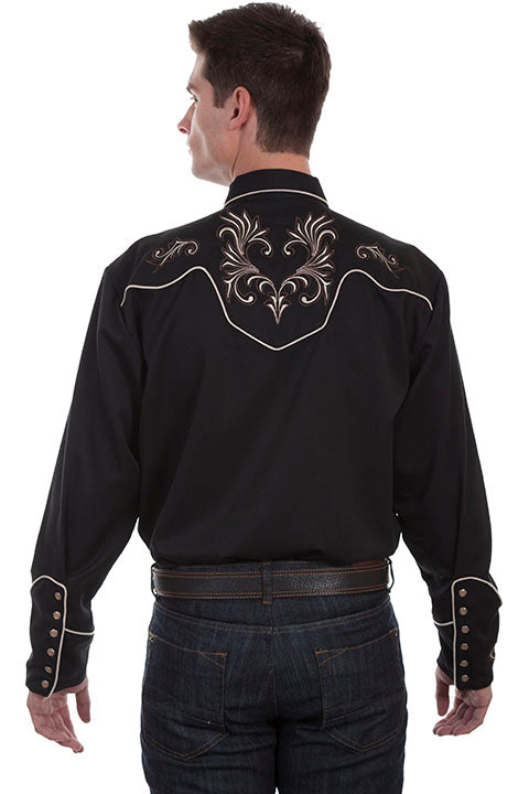 Vintage Inspired Western Shirt Scully Mens Floral Scrolls Black Back