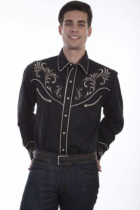 Vintage Inspired Western Shirt Scully Mens Floral Scrolls Black Front