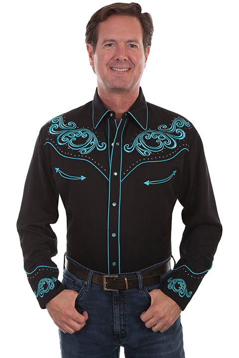Scully Men's Vintage Inspired Western Shirt Turquoise Scrolls Front