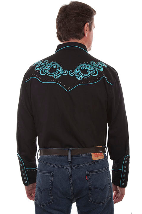 Scully Men's Vintage Inspired Western Shirt Turquoise Scrolls Back