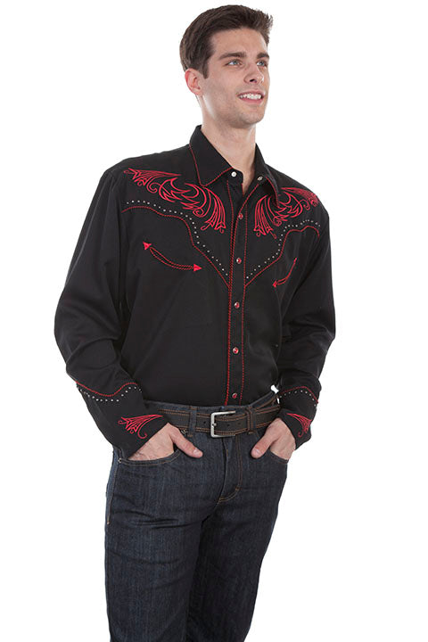 Men's Scully Vintage Inspired Western Shirt Red Scrolls and Metal Accents Side