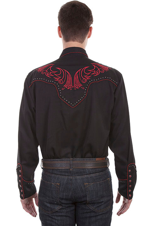 Men's Scully Vintage Inspired Western Shirt Red Scrolls and Metal Accents Back