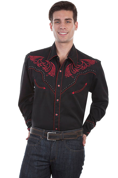Men/'s New Scully Embroidered Yoke Cuffs Stud Western Cowboy Rodeo Shirt Black
