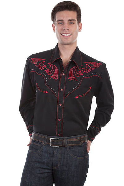 Men's Scully Vintage Inspired Western Shirt Red Scrolls and Metal Accents Front