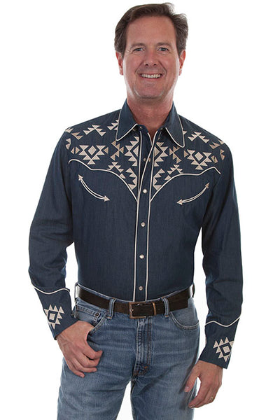 Men's Scully Vintage Inspired Western Shirt with Aztec Embroidery Front