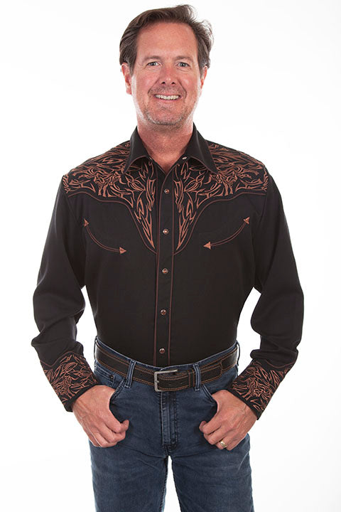 Men's Vintage Western Shirt Collection: Scully Embroidered Scroll Design