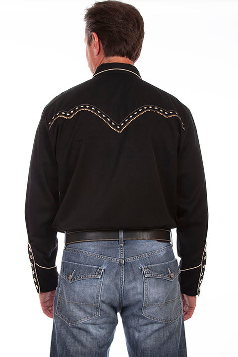 Scully Men's Vintage Inspired Western Shirt with Embroidered Diamonds Back