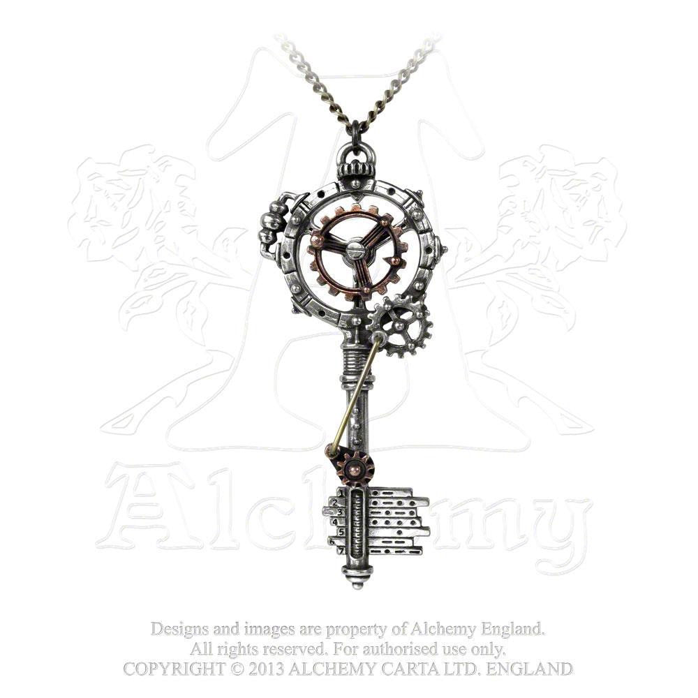 Alchemy England 1977 Steampunk Necklace: Septagramic Coercion Gearwheel Key Pendant Front