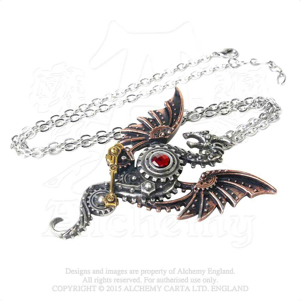 Alchemy England 1977 Steampunk Dragon Pendant on Chain Flat