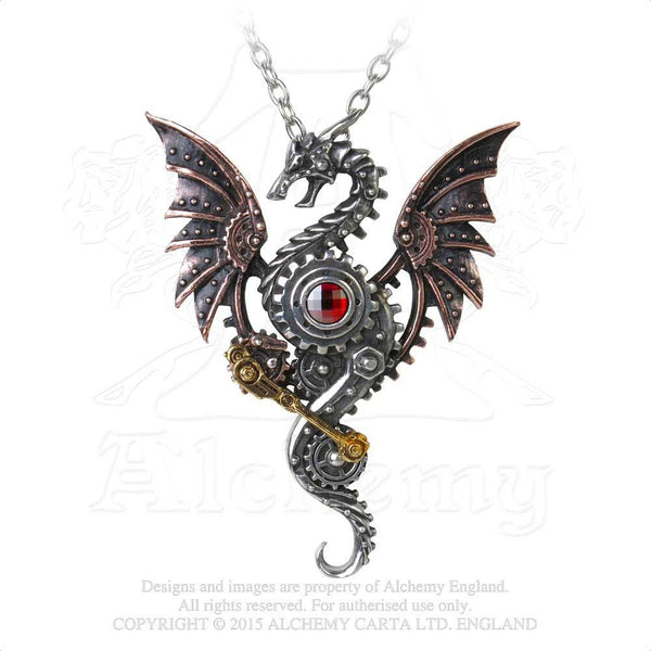 Alchemy England 1977 Steampunk Dragon Pendant on Chain Front