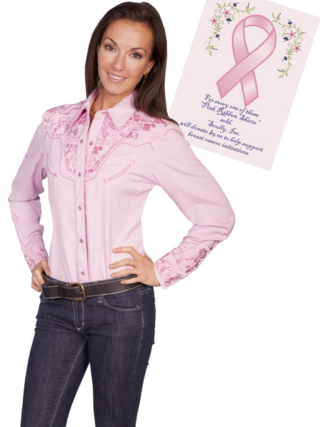 Vintage Inspired Western Shirt Ladies Scully Gunfighter Pink Ribbon Front