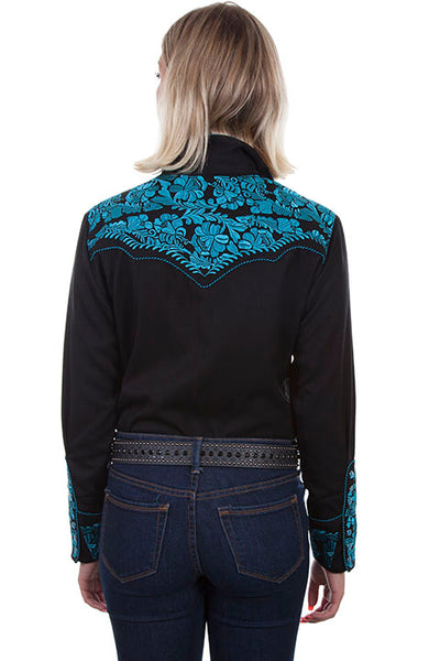 Scully PL-654 Ladies' Embroidered Shirt Black & Turquoise