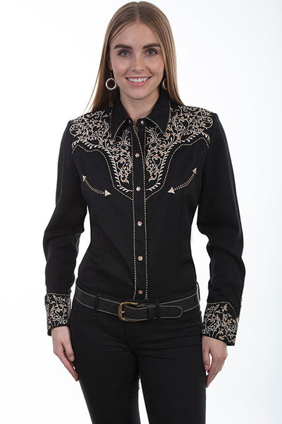 Vintage Inspired Western Shirt Ladies' Scully Two Tone Embroidery Front Black