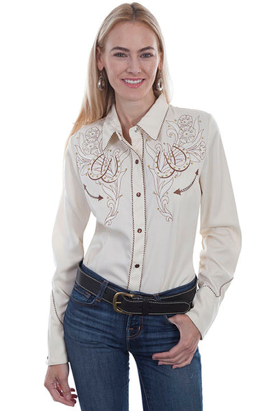 Scully Ladies Vintage Western Shirt with Embroidered Horseshoes and Roses Cream Front