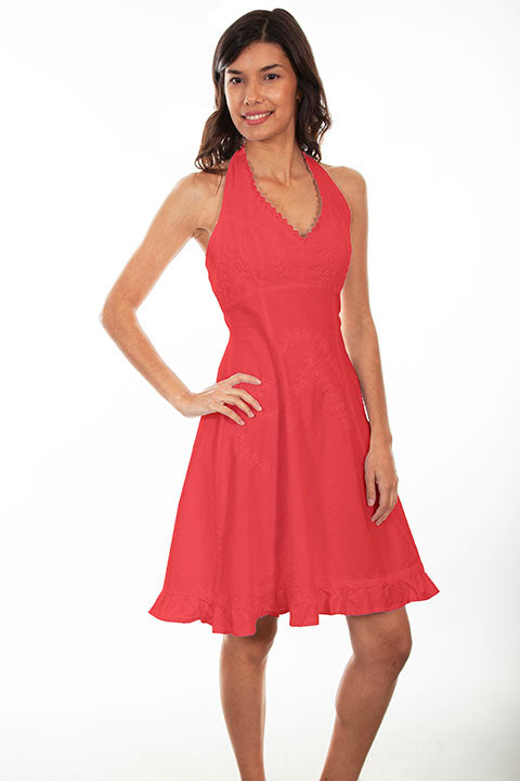 Ladies' Cantina Collection Cotton Dress with Ruffle Hem Brick