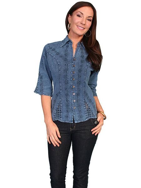 Scully Cantina Collection Womens Elbow Length Sleeve Button Front Dark Blue