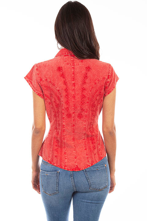 Scully Cantina Collection Womens Cap Sleeve Cotton Top with Soutache Trim Brick Back View