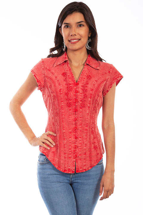 Scully Cantina Collection Womens Cap Sleeve Cotton Top with Soutache Trim Brick Front View