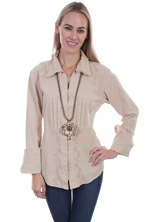 Cantina Collection Womens Cotton Pleated Front Bodice Blouse Khaki Front View