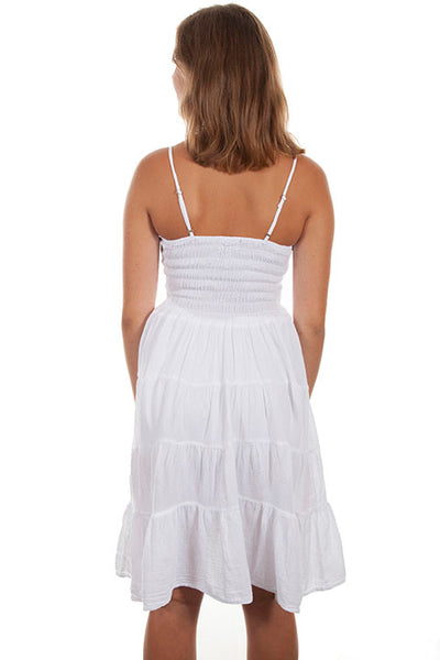 Cantina Collection White Cotton Dress with Spaghetti Straps Front