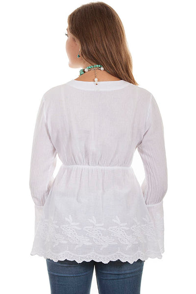Cantina Collection Pullover with Long Bell Sleeves White Front