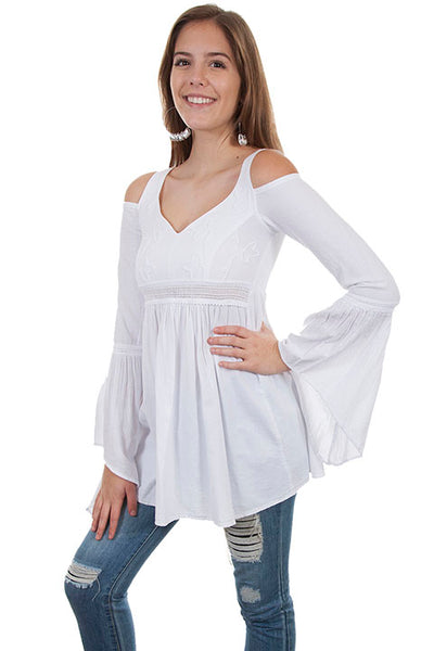 Cantina Collection White Cotton Cold Shoulder Bell Sleeve White Front