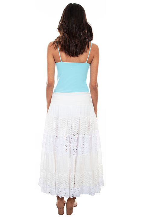 Scully Ladies' Cantina Cotton Skirt: Tiered Lace Back