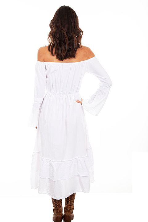 Scully Cantina Collection Embroidered Bodice Off The Shoulder Dress White Back