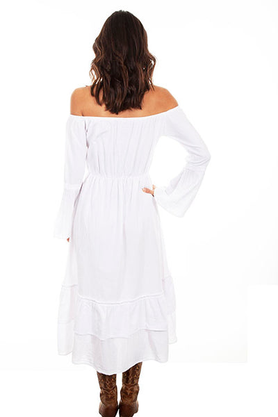 Scully Cantina Collection Embroidered Bodice Off The Shoulder Dress White Front