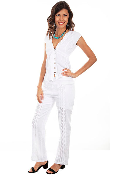 Scully Ladies' Cantina Collection Pants Crochet Panels White Front