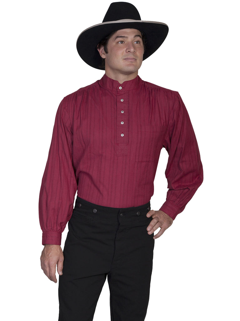 Scully Mens Rangewear Old West Shirt Banded Collar Light Weight Burgundy Front