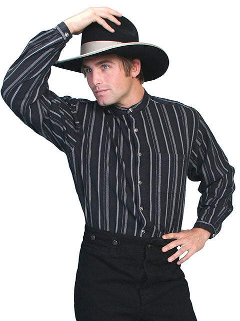 Men's Western Shirt Collection: Scully Rangewear Band Collar Stripe