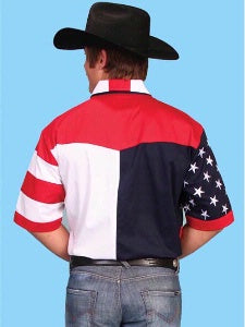 Scully Leather Co. Men's Patriotic Shirt Short Sleeves Back