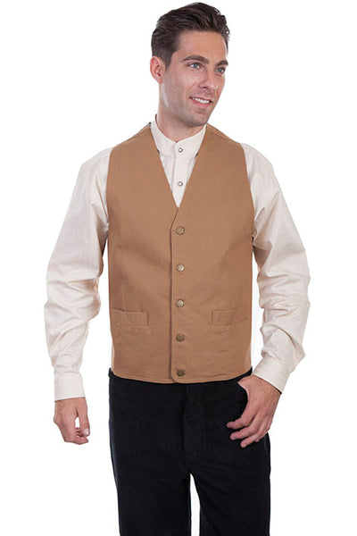 Scully Men's Old West Rangewear Vest Walnut Front