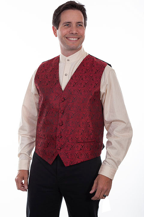 Scully Mens Rangewear Old West Vest Paisley No Lapels Red