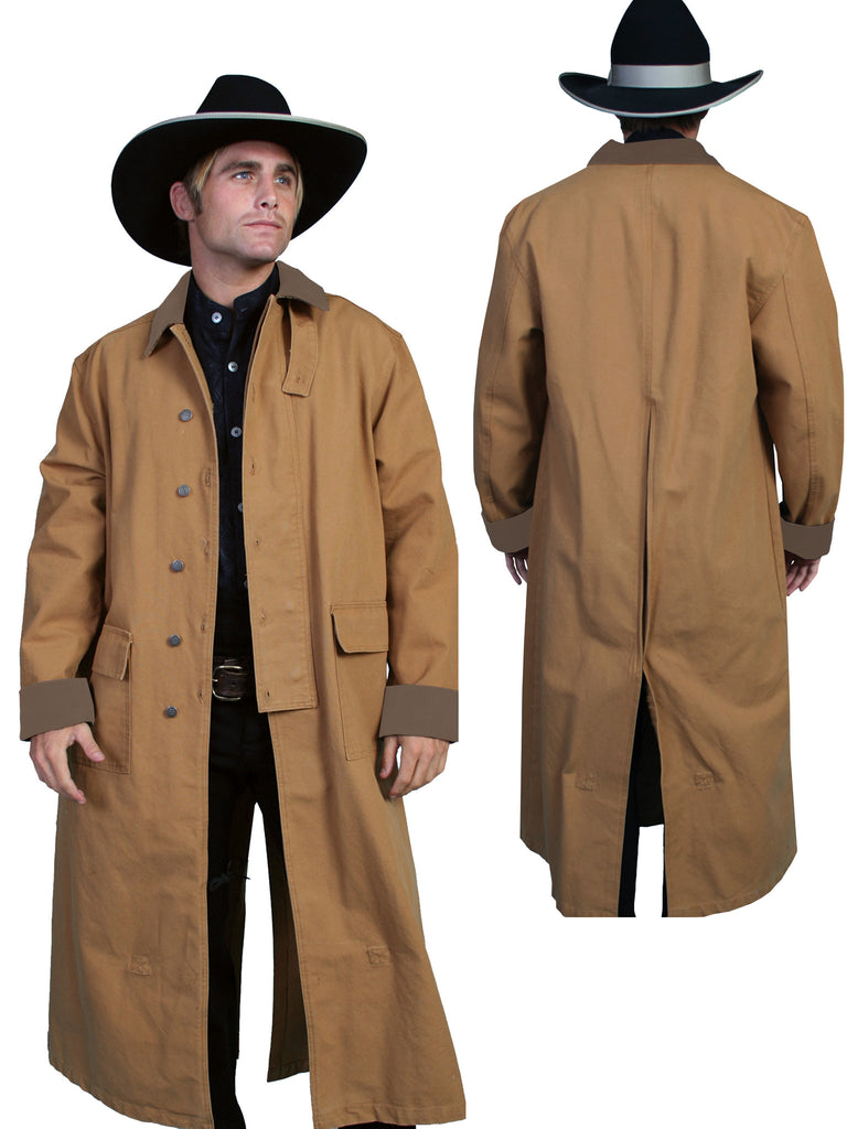 Mens Scully Old West Rangewear Canvas Duster Front and Back Brown