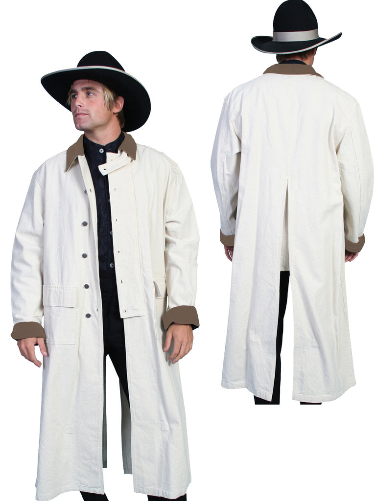 Mens Scully Old West Rangewear Canvas Duster Front and Back Natural
