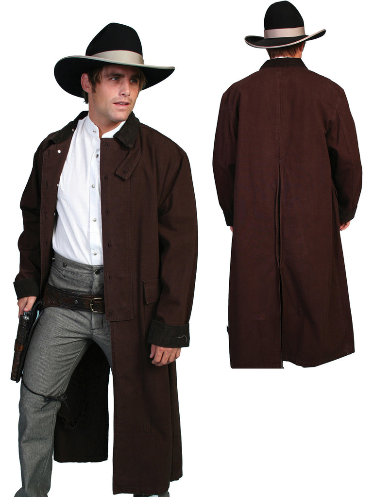 Mens Scully Old West Rangewear Canvas Duster Front and Back Walnut