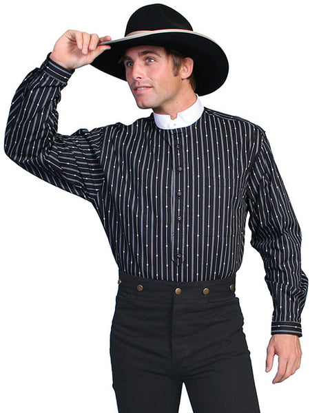 Scully Men's Old West Rangewear Tombstone Collar Shirt Black with White Stripes Front