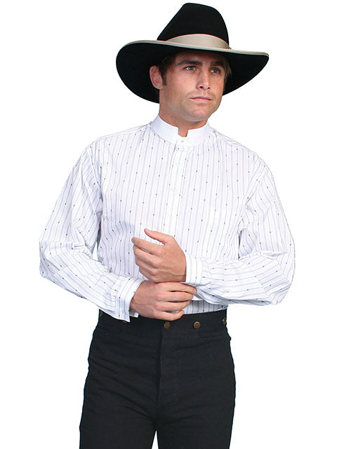 Scully Men's Old West Rangewear Tombstone Collar Shirt White with Black Stripes Front