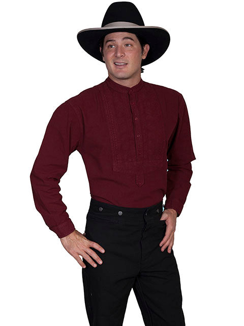Scully Men's Old West Rangewear Cotton Bib Burgundy Front