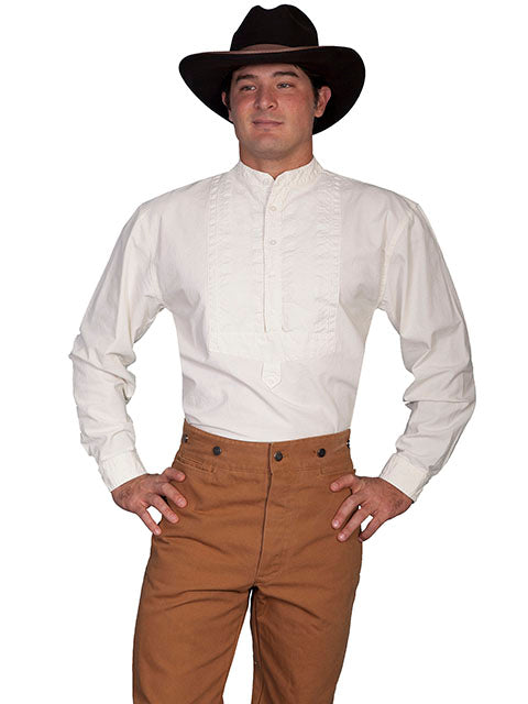 Scully Men's Old West Rangewear Cotton Bib Ivory Front
