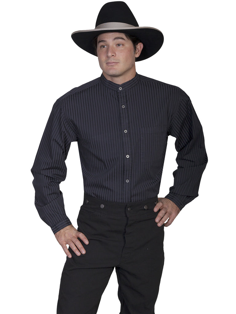 Scully Men's Rangewear Old West Shirt Tone on Tone Stripes Black Front