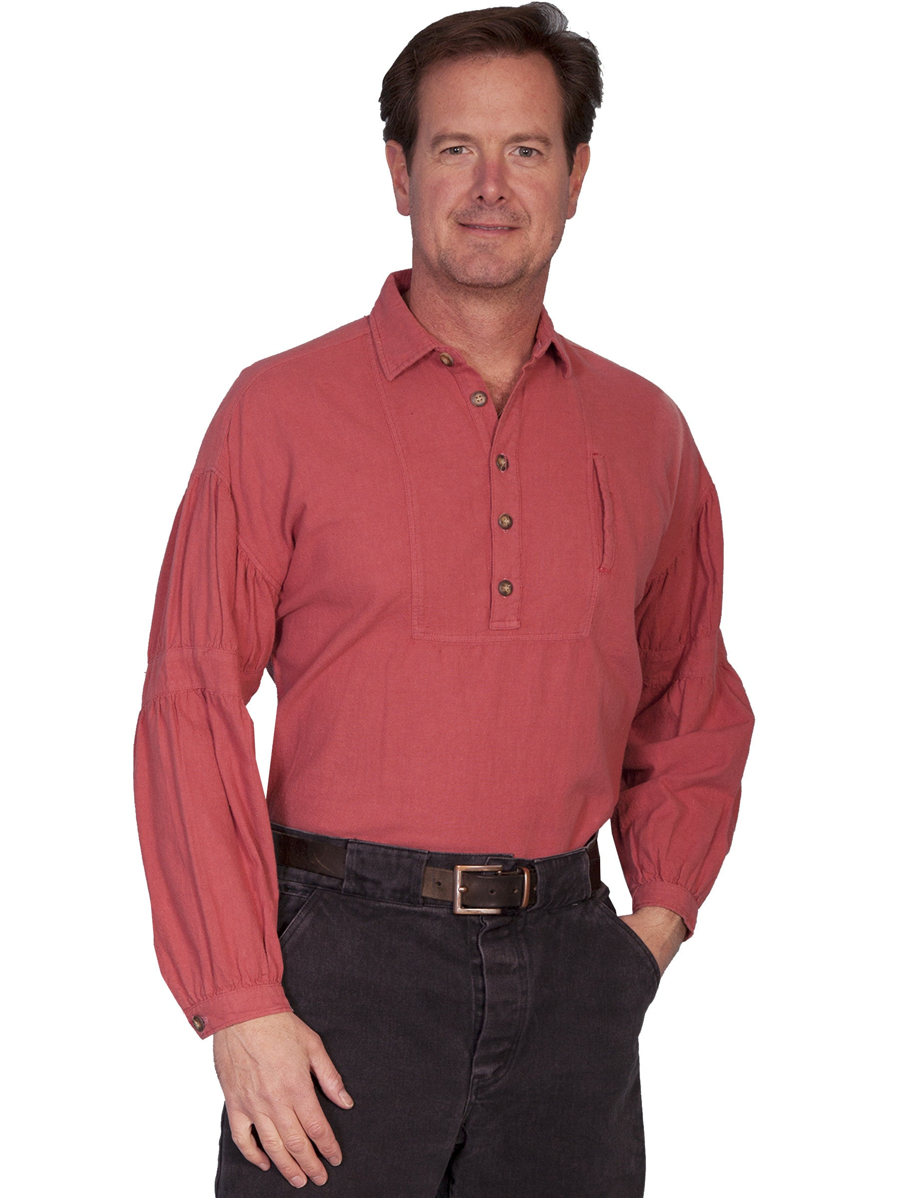 30e0aeeb57 ... Black Front  Scully Mens Rangewear Old West Shirt Dealer Banded Sleeves  Cayenne Front
