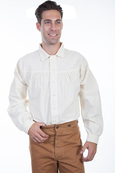 Men's Scully Rangewear Old West Double Button Shirt Ivory Front
