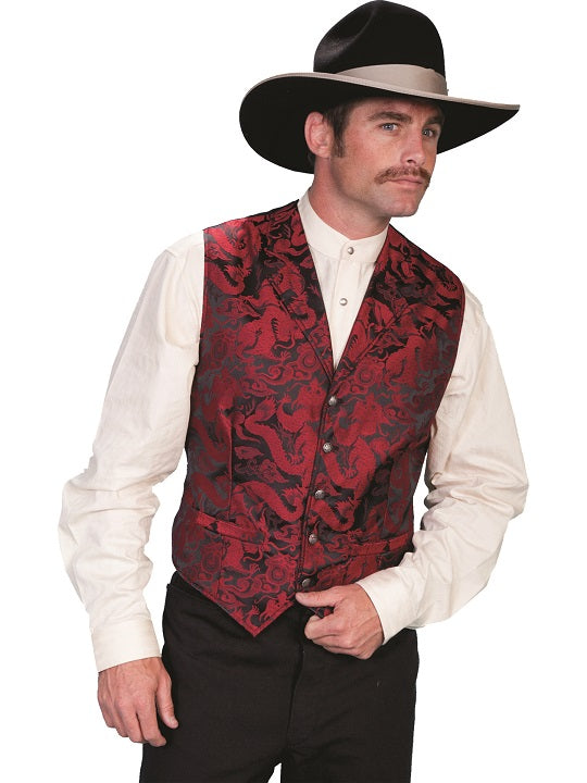 Scully Men's Old West Rangewear Dragon Red Print Vest
