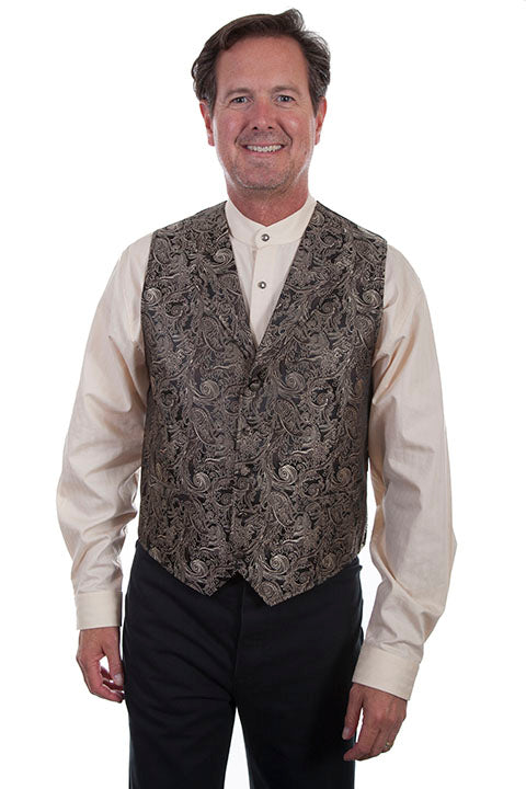 Scully Men's Vest Scrolls and Swirls Print Brown RW288