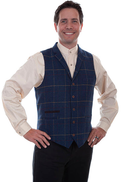 Scully Men's Old West Rangewear Plaid Vest Front