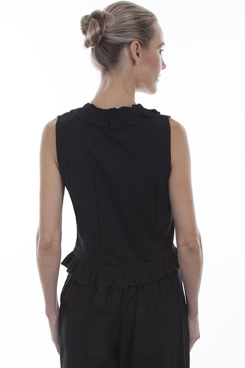 Scully Ladies Rangewear Cotton Camisole Black Button Front Back