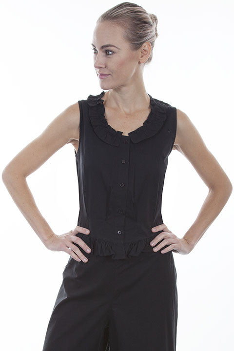 Scully Ladies Rangewear Cotton Camisole Black Button Front